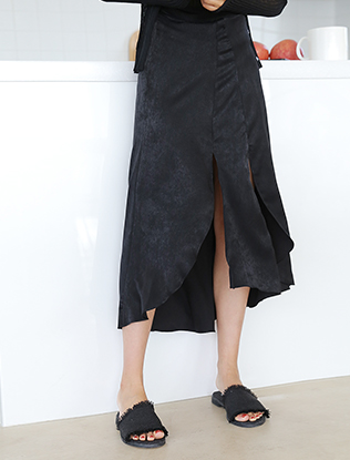 Double Front Slit Mullet Skirt