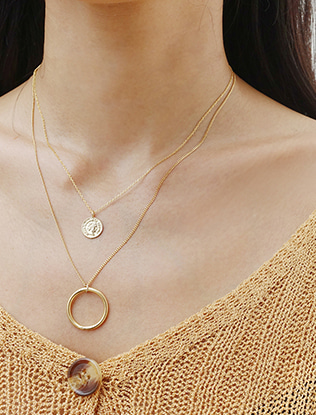 Engraved Coin Pendant Necklace