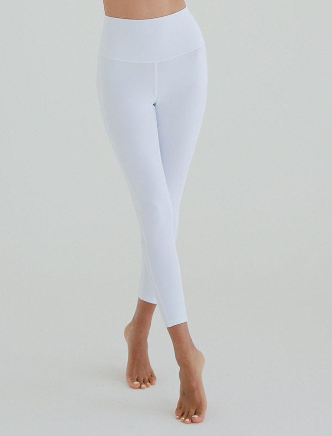 White Wide Waistband Seamed Leggings