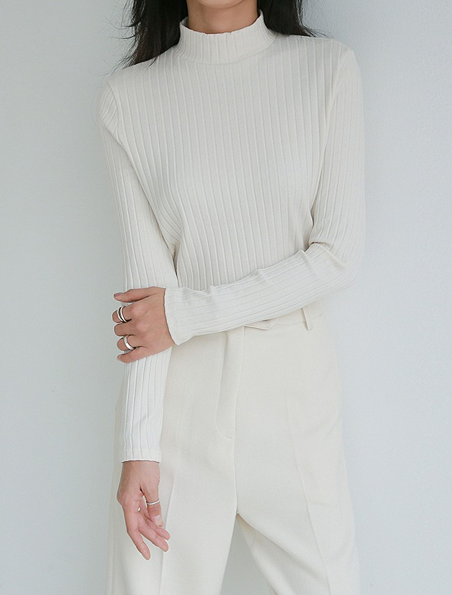 Ivory High Neck Long Sleeve T-Shirt
