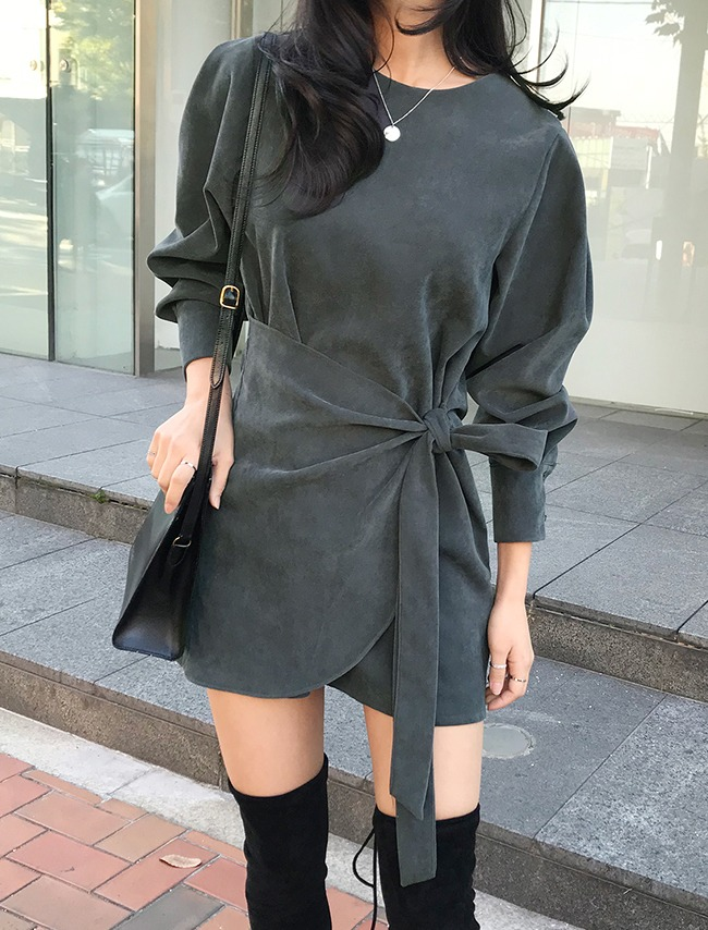 Charcoal Long Sleeve Tie-Waist Dress