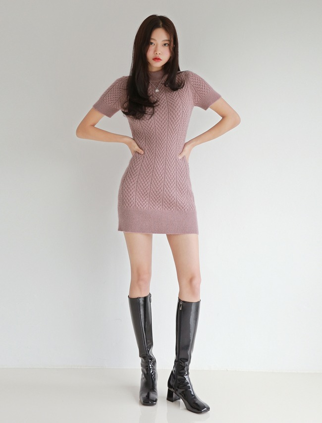 Pink Short Sleeve Knit Dress