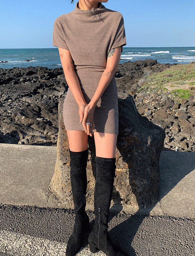 Funnel Neck Mini Dress