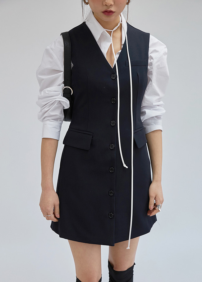 V-Neck Button-Down Dress