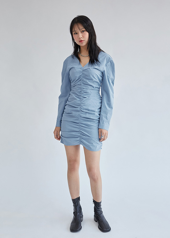 Mini Shirred Long Sleeve Dress