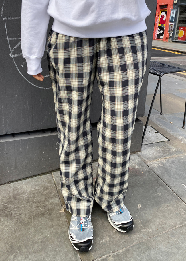 Drawstring Waist Check Pants