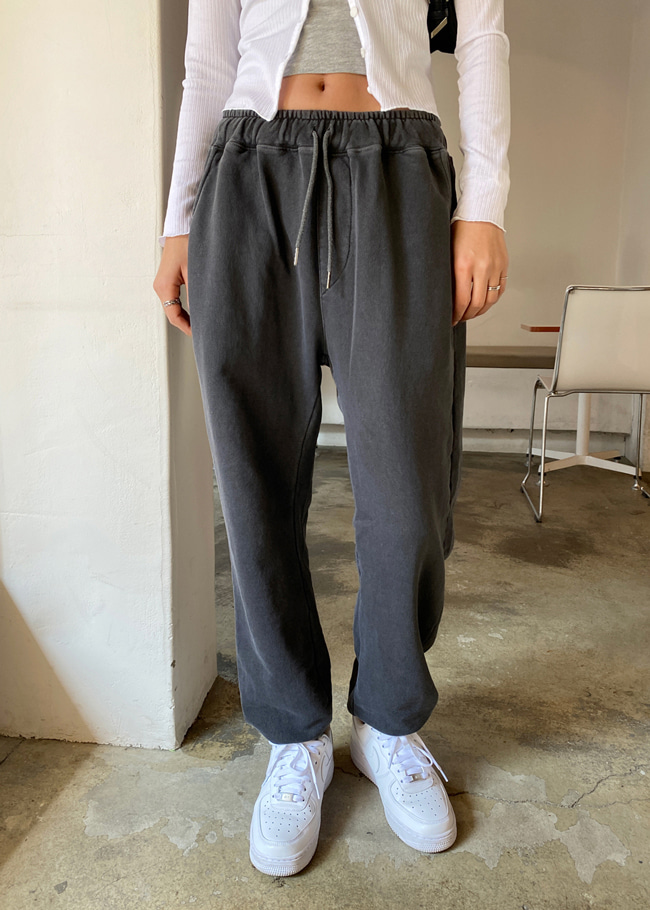 Drawstring Waist Baggy Cotton Joggers