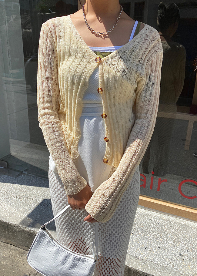 Sheer Button-Up Cardigan
