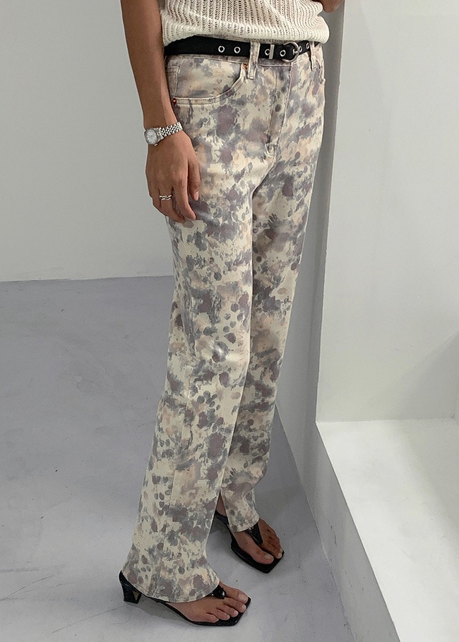 Watercolor Design Slit Pants