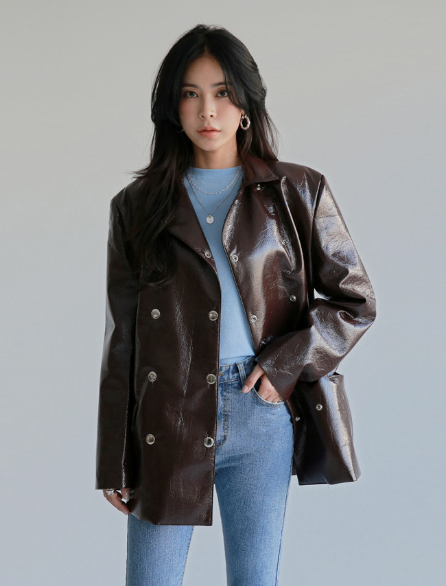 Brown Coated Faux Leather Jacket