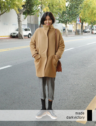 High Neck Button-Down Coat