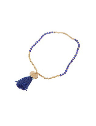 Gold and Navy Bead Bracelet