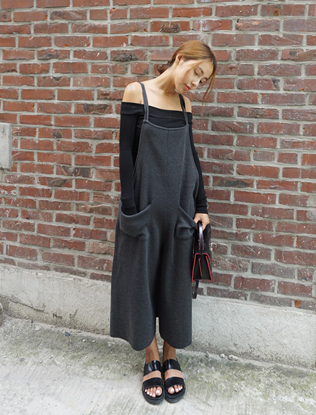 Loose Fit Knit Overalls