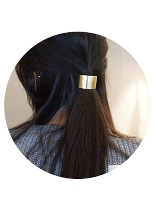 Gold Tone C-Shaped Hair Tie