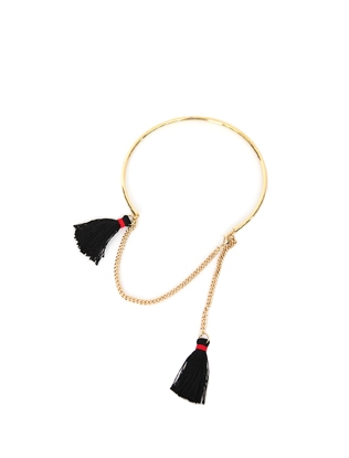 Tassel Accent Gold Tone Necklace