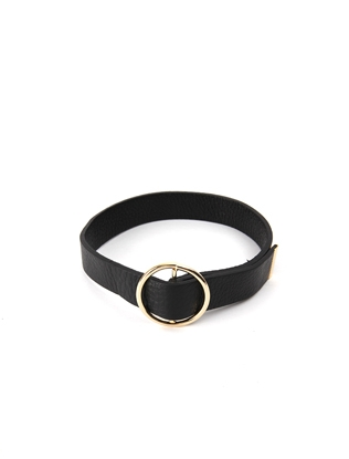 Leather Choker with Round Buckle Accent