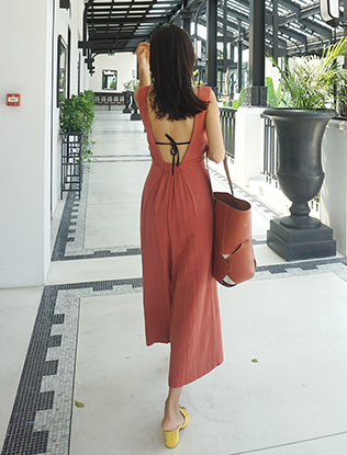 Backless Tie Front Jumpsuit