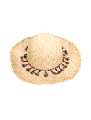 Colorful Tassel Band Frayed Brim Hat