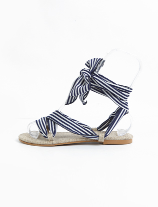 Striped Self-Tie Straps Sandals