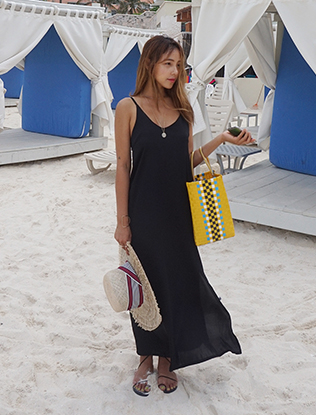 Slit Long Sleeveless Dress