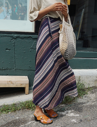 Ethnic Print Maxi Wrap Skirt