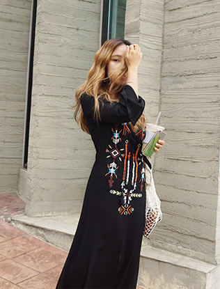 Lace-Up V-Neck Embroidered Maxi Dress