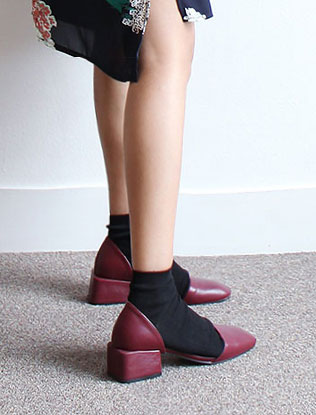 Block Heeled Open Side Shoes