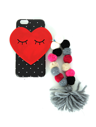 Heart Tassel Accent Phone Case