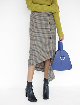 Asymmetric Side Button Check Skirt