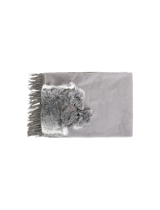 Fringed Fur-Accented Muffler