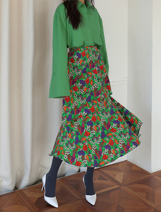 Multicolored Floral Print Skirt