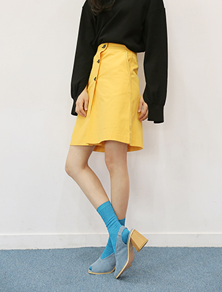 Button Front Knee-Length Skirt