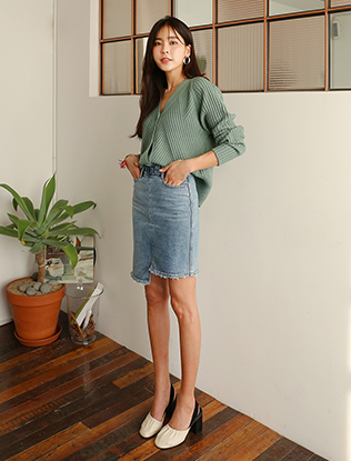 Uneven Hem Denim Skirt