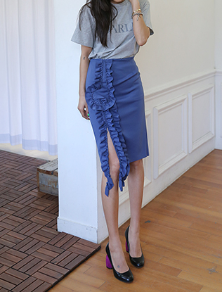 Ruffled Front Slim Midi Skirt