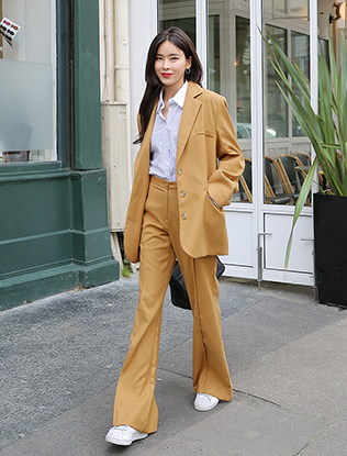 Mustard Two-Piece Jacket and Pants Set