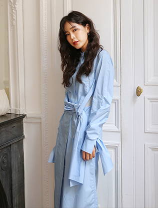 Knotted Straps Long Shirt Dress
