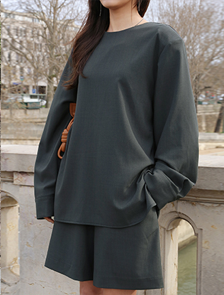 Long-Sleeved Charcoal Blouse
