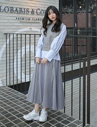 Bias Cut Striped Skirt