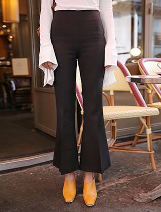 High Waist Black Boot Cut Pants