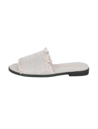 Frayed Tongue Leatherette Slippers