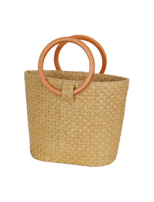 Wood Handle Woven Bag