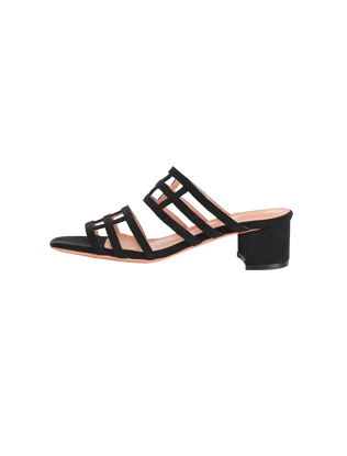Grid Strap Block Heel Sandals
