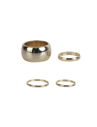 Four-Piece Metallic Ring Set