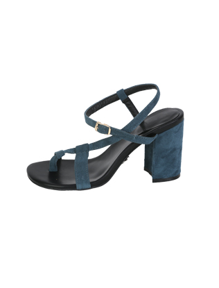 Diagonal Strap Block-Heeled Sandals