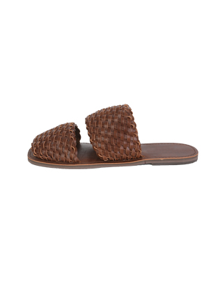 Woven Leatherette Strap Slide Slippers