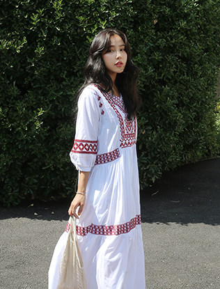 Embroidered Maxi Summer Dress