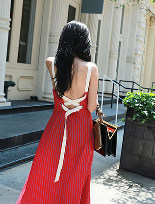 Lace Up Back Striped Dress