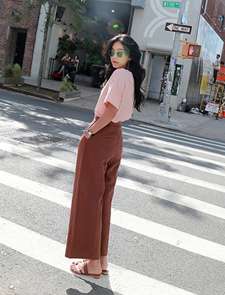 Hook Front Wide Leg Linen Pants