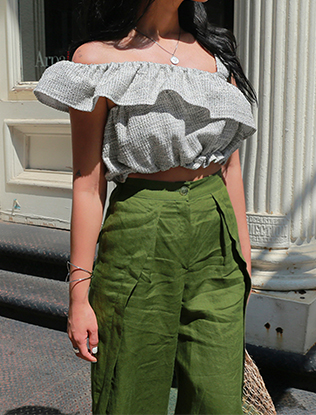 One Shoulder Ruffled Cropped Blouse