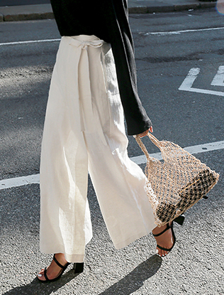 Side Tie Wrap Linen Pants